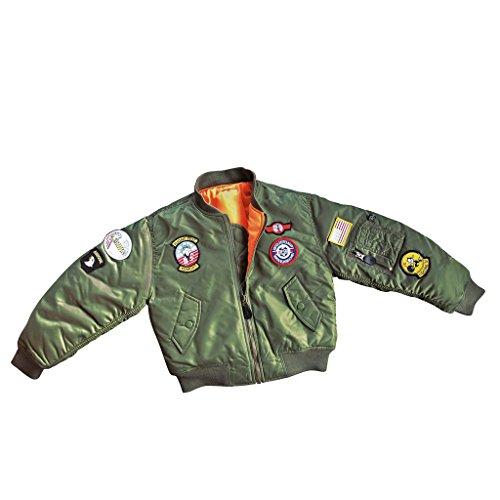 McAllister Kinder Fliegerjacke 'Top Gun' Kids Bomberjacke Wendejacke verschiedene Farben S-XL (M (6-8 Jahre), Oliv)