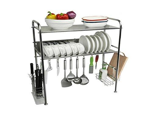WSWJJXB Küchenregale 304 Edelstahl Geschirrkorb Spüle Ablauf Rack Küche liefert Lagerregal Geschirr Regal Rack Trocken Rack