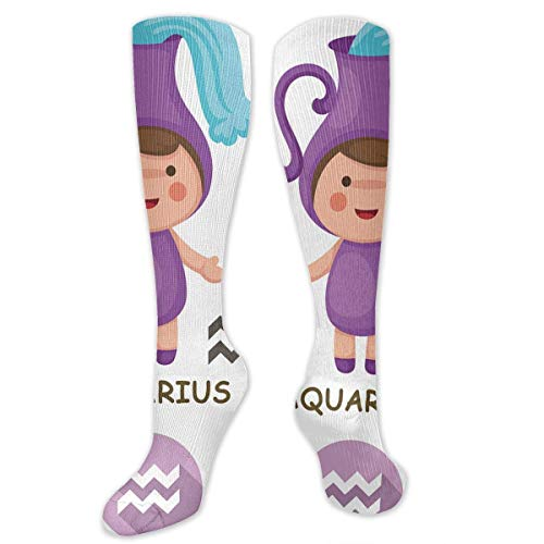 Jxrodekz Knee High Socks Aquarius Collection Zodiac Signs Knee High Compression Stockings Athletic Socks Personalized Gift Socks for Men Women Teens Girls - Pie-cut-regal