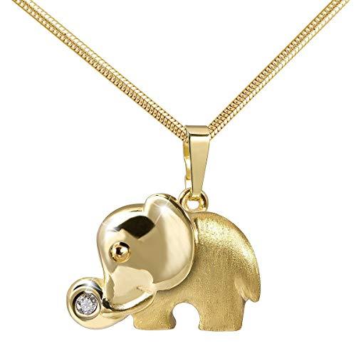 MATERIA 45cm Cadena de Serpiente con 333Oro Colgante Elefante–8K circonitas cadena colgante animales + Caja # KA de 260