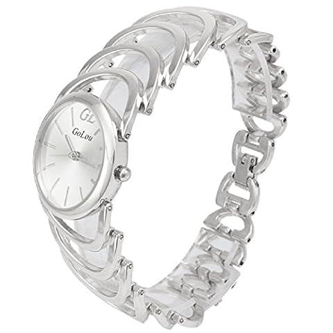 Damen Uhren, OverDose Mode Zifferblatt Mode Frauen-Legierung Quarz-analoge Strass-Armband-Armbanduhr (Silber)