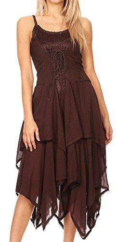 Sakkas 9031Lady Mary Jacquard Korsett Taschentuch Saum Kleid - Braun - OS (Viktorianische Tee-kleid)