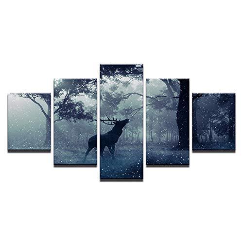 Wsxxnhh Leinwand Bilder Wohnzimmer Wohnkultur 5 Stücke Wald Tier Dollar Rotwild Elch Schnee Gemälde Abstrakte Poster Wandkunst Rahmen-40Cmx60/80/100Cm,with Frame