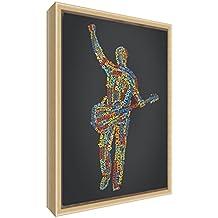 Feel Good Art elegante y moderno, sólido Fronted y Natural enmarcado pared lienzo en Quirky cuadro macho guitarrista design-multicoloured 34x 24x 3cm (pequeño), madera, negro, 34x 24x 3cm