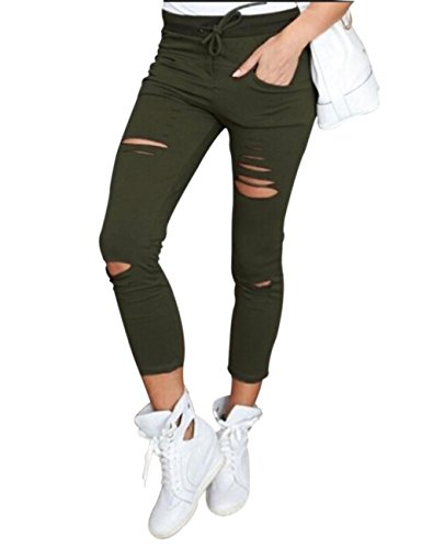 Yidarton Donna Sportiva Stretch Slim Fit Strappato Skinny Denim Causal Donna Pantaloni (S, Army green) - Army Green Denim