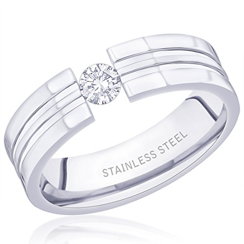 Peora 316L Stainless Steel Grooved Tension Ring for Men  available at amazon for Rs.425