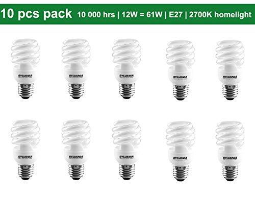 10 x Sylvania MINI-LYNX Spiro 12W (=61W Equivalent ) E27 ES CFL Energy Saving Light Bulbs, 750 Lumen, 10 Years, 827 2700K Homelight Warm White (12w Cfl)