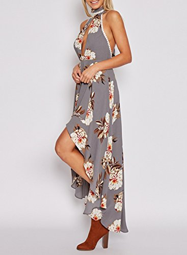 ACHICGIRL Women's Halter Backless Floral Printed High Low Dress Grey