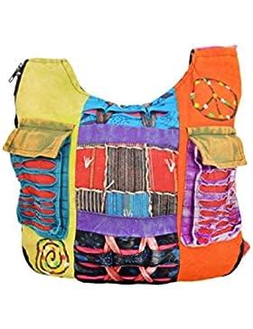 Mehrfarbige lange Schultertasche der Damen-Hippie-Art.