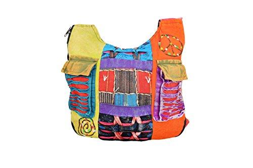 TATTOPANI Damen Hippie Stil mehrfarbige lange Schultertasche-BAGS0001S