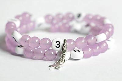 Bracelet d'allaitement avec perles en agate de couleur violet claire