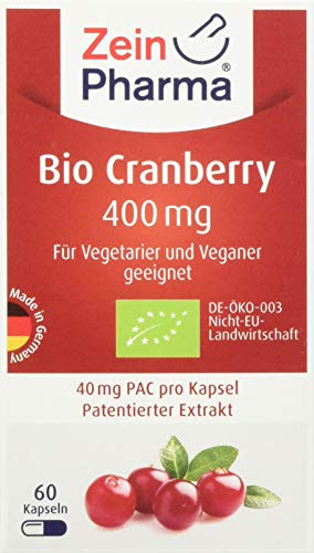 ZeinPharma Cranberry Extrakt 400 mg 60 Kapseln (Monatspackung) Glutenfrei, vegan, koscher & halal Hergestellt in Deutschland, 29 g -