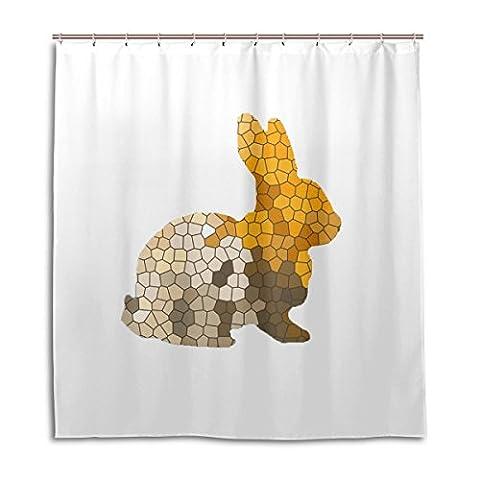 Wdysecret hexagonale Lapin Rideau de douche renforcer la Épaisseur étanche Mouldproof DIY Custom-66X 72(en), polyester & polyester mélangé, Shower Curtain, 60x72