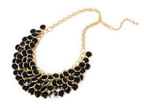 Damen Halskette Modeschmuck Accessoire Schmuck Statement Kette Perlen Kette XXL Collier schwarz/gold von der Marke (Das Von Modeschmuck Tragen)