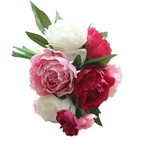 Hlhn Bouquet de fleurs artificielles Pivoine Faux Décor floral bonsaï pour Office Home bureaux des Tables de jardin bouquets de mariage pour usage extérieur