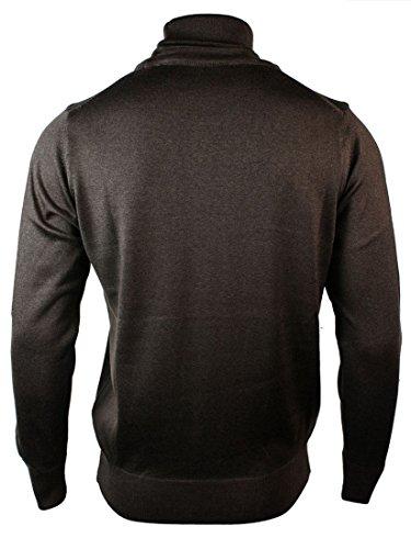 Pull homme ceintré à col roulé en mélange cachemire laine polyester gris noir bleu marine Marron