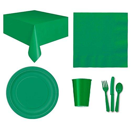 (zhouba Einweg Party Hochzeit Event Geschirr Tischdecke Serviette Teller Tasse Besteck Set, grün, Einheitsgröße)