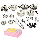 Lolitarcrafts Cucina Fai Finta di Giocare con pentole in Acciaio Inox Pentole e padelle Set per Bambini, Ragazze, Ragazzi, Bambini Piccoli