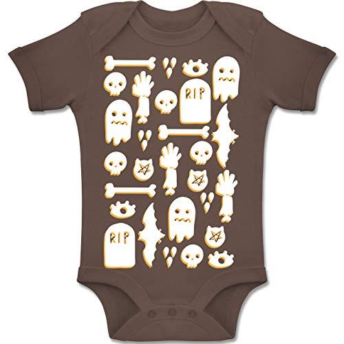 Shirtracer Anlässe Baby - Halloween Totenkopf Mosaik - 1-3 Monate - Braun - BZ10 - Baby Body Kurzarm Jungen Mädchen