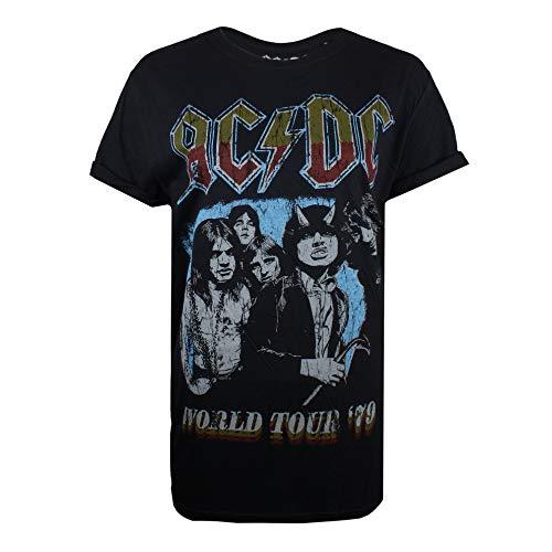 AC/DC Damen T-Shirt World Tour 79 Schwarz (Black Blk) 36 (Herstellergröße: SMALL)