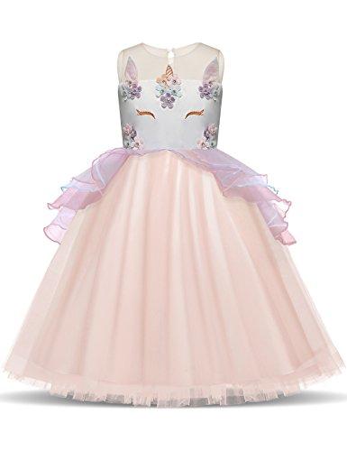 rn Blume Rüschen Cosplay Party Hochzeit Prinzessin Kleid Größe (100) 3-4 Jahre Rosa (Hübsche Rosa Prinzessin Kostüm)