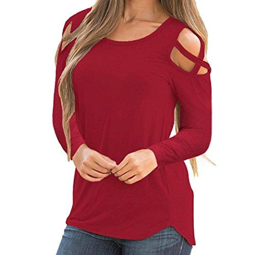 Elecenty camicia casual a maniche lunghe donna t-shirt da donna a manica lunga con spalline larghe e maniche lunghe