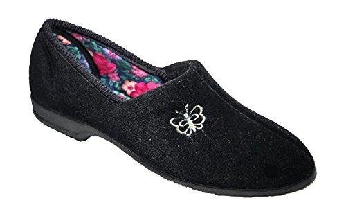 Mirak Slip-On Textile Lined Ladies Slippers - Black - Size 3 4 5 6 7 8 Nero