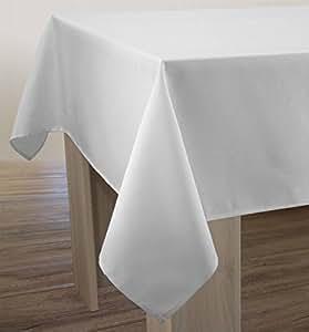 nappe unie anti taches blanche taille rectangle 150x300 cm cuisine maison. Black Bedroom Furniture Sets. Home Design Ideas
