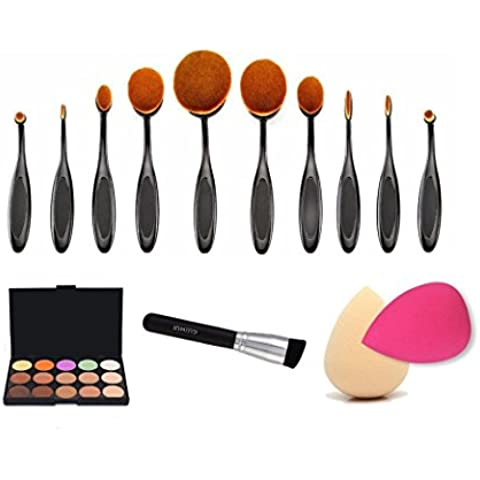 Ouneed® 10PCS Spazzolino + 1PC spazzola della polvere + 15 colori Concealer + 2 PCS spugna Sbuffi
