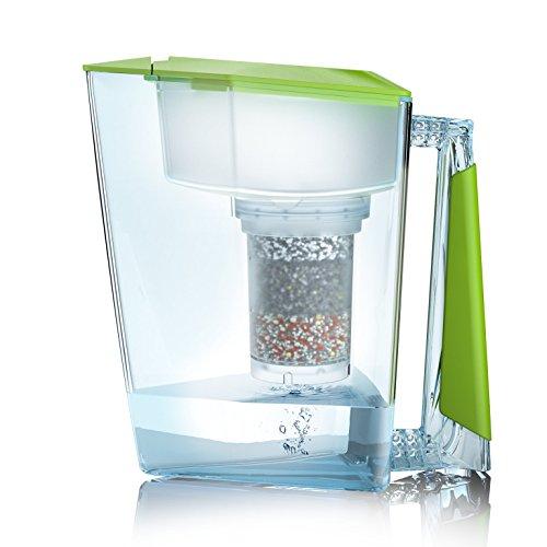 Wasserfilter MAUNAWAI® Premium Bio Made in Germany inkl. 1 Trinkwasserkanne +1 Filterkatusche und Filterpad (für 3 Monate) - Grün, Trinkwasserfilter + Filterkanne