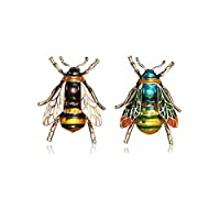 UOROMINE Bee Brooch Pins Enamel Cryatal Insect Animal Brooches Themed Lapel Pin Corsages Scarf Clips for Women Men Girls 2 Pieces