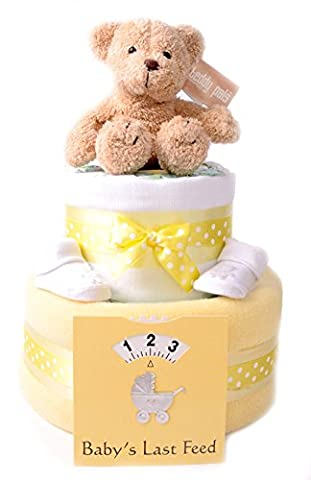 Unisex yellow 2 Tier deep filled nappy cake hamper baby shower gift - FAST & FREE DELIVERY!