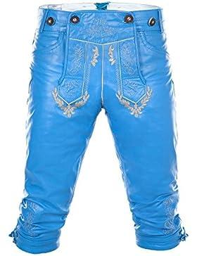 Kniebund Trachtenlederhose mit Hosenträgern aus super weichem Glattleder in hellblau Gr. 44-64