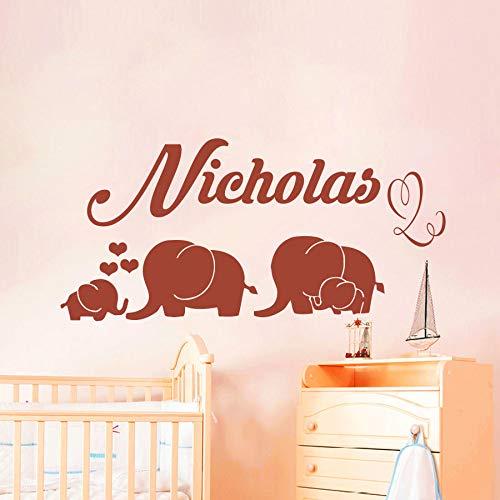 jiuyaomai Nombre Personalizado Elefantes Vinilo Etiqueta de La Pared Habitación de los...