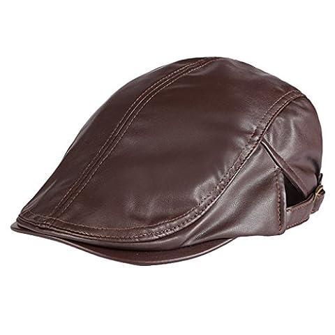 Panegy Unisex PU Leder Schirmmütze Schiebermütze Flatcap Schildmütze Golfermütze für Damen und Herren - (Schildmützen Herren)