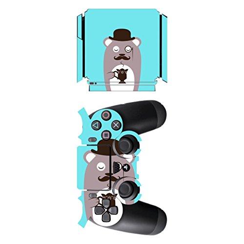 'Disagu SF de SDI de 5545_ 1135Diseño Protector de pantalla para Sony PS4Slim con controlador–Diseño café oso marrón transparente