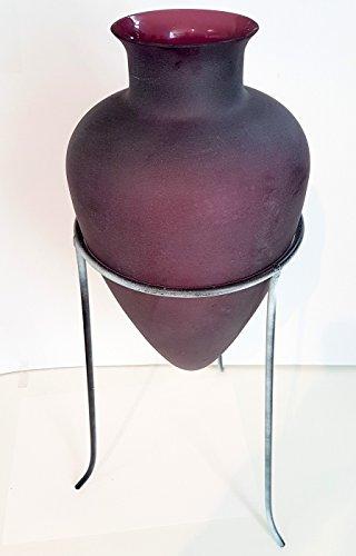 Vase antiker Stil bauchig im Metallständer violette Glas Amphore Glas, Ständer shebby weiß Höhe ca. 32 cm Gesamthöhe ca. 50 cm