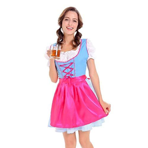 Oktoberfest Karneval Kostüm Damen Dirndl Trachtenkleid Kleid Bluse Schürze Traditionelles Kleid Halloween Cosplay Trachtenkleid Maid Kostüm- Drei Teilig: Kleid, Bluse, Schürze/Blau /M,XL (Blau, M)