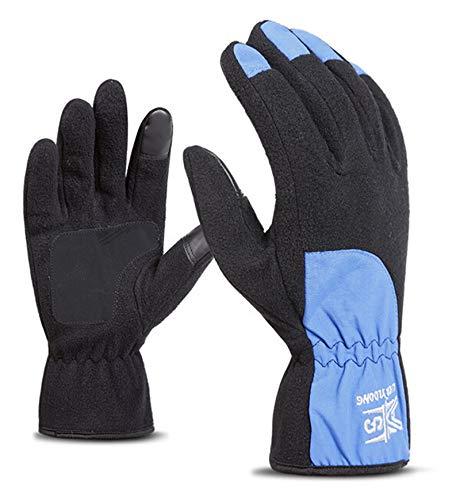 AmDxD Damen Winterhandschuhe Vlies Reithandschuhe Wärme Samt Fahrradhandschuhe Blau Handschuhe Größe Groß