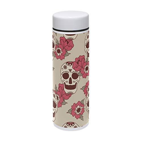 Mexikanische Totenköpfe und Blumen Edelstahl Vakuum-isolierte Flasche 7,4 Unzen Thermos hält Wasser für 24 Stunden kalt und heiß für 12 Stunden Kaffee Reisetasse