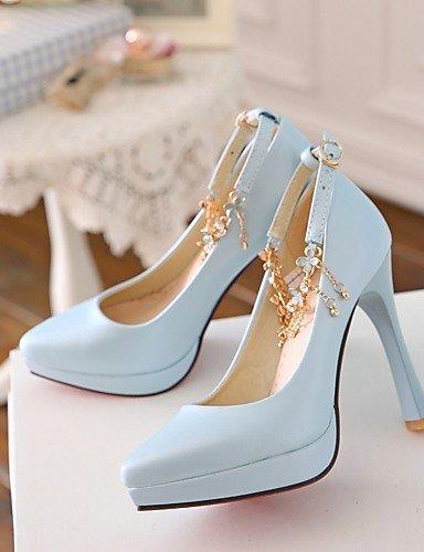 WSS 2016 Chaussures Femme-Bureau & Travail / Habillé / Soirée & Evénement-Bleu / Rose / Blanc-Talon Aiguille-Talons-Talons-Similicuir white-us9 / eu40 / uk7 / cn41