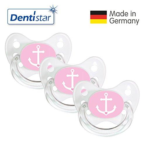 Preisvergleich Produktbild Dentistar® Schnuller 3er Set - Nuckel Silikon in Größe 1 von Geburt an, 0-6 Monate - zahnfreundlich & kiefergerecht - Beruhigungssauger für Babys - Weiß/Rosa Ankerherz