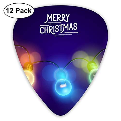 Modern Xmas Merry Christmas Multicolored Light Bulb Guitar Picks - 12 pack (Lights Christmas Bulb)