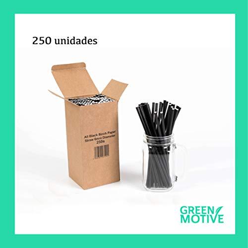 Green Motive 250 Pajitas de Papel Negras 100% Biodegradables 6mm x 20c