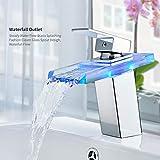 Auralum LED RGB 3 Farbewechsel Glass Wasserhahn Chrom Wasserfall Waschtischarmatur Armatur für Bad Badenzimmer Waschbecken Square Dekoration Ventil Badezimmer. 2 Jahre Garantie