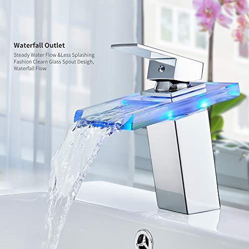 Auralum Glas Wasserhahn Waschbecken Armatur Waschtischarmatur LED RGB Licht und Modell Wählbar (Type B, mit LED RGB Licht) - 5