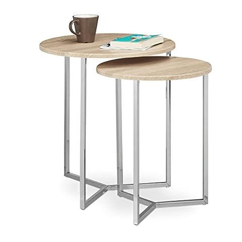 Relaxdays Table console ronde lot de 2 diamètre 50 et 40 cm table d'appoint plateau rond en bois canapé table gigogne pieds en métal,