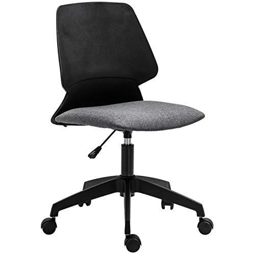 Vinsetto Drehstuhl Bürostuhl Chefsessel Schreibtischstuhl Bürosessel rollbar höhenverstellbar ergonomisch gepolstert Leinen Schwarz + Grau 60 x 50 x (84-93) cm -