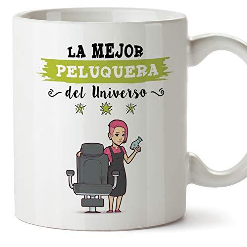 Mugffins Peluquera Tazas Originales de café y Desayuno para Regalar a Trabajadores Profesionales - Esta Taza Pertenece a la Mejor Peluquera del Universo - Cerámica 350 ML