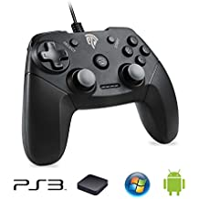 PS3 Gamepad, [Regalo] EasySMX EG-C3071 USB Gaming Mando Game Controlador Joystick con Doble-Vibración Compatible con PC/PS3/TV Box/Android Phones (Negro)